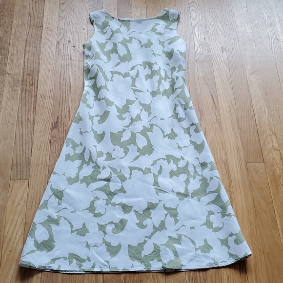 Hobbs linen white and sage floral dress 8
